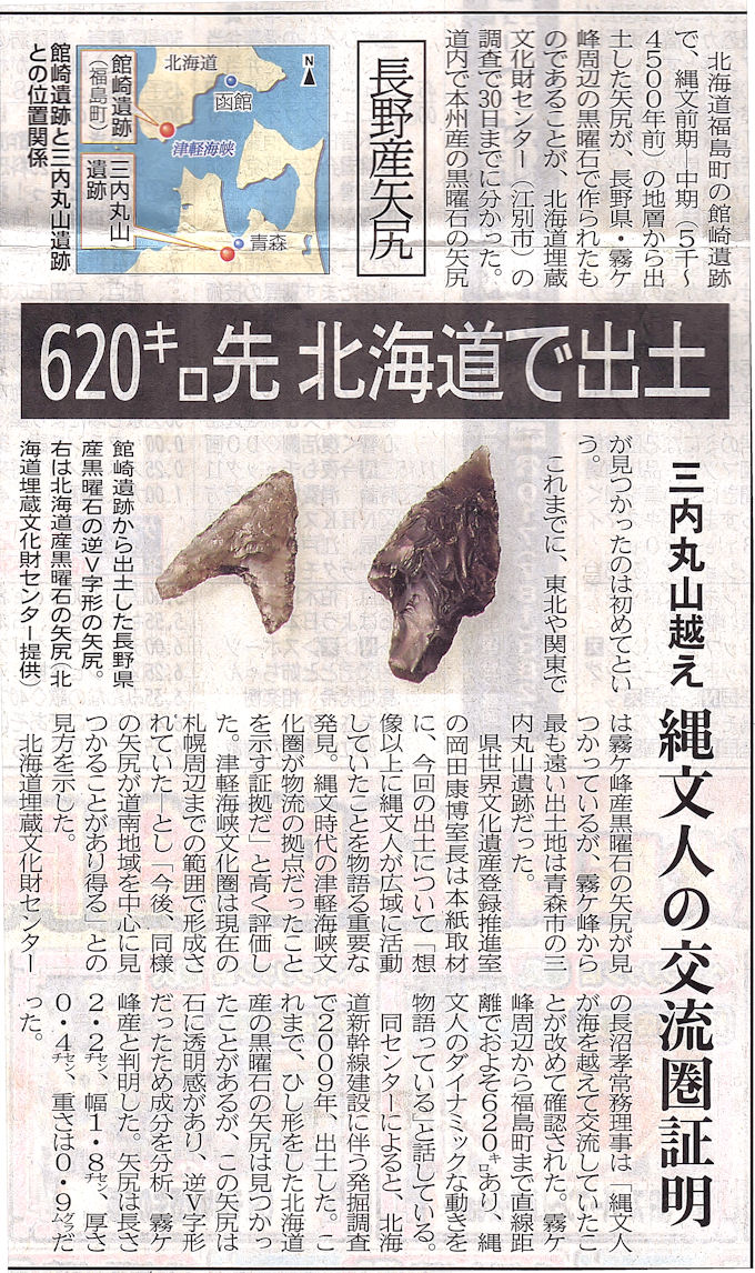 長野産矢じり北海道で出土(東奥日報H28.5.31)